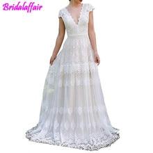 Womens V-Neck Boho Wedding Dresses Lace Bridal Gowns V neck wedding dress 2019 princess estido de Bride Gown