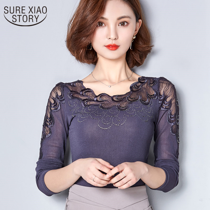 2017 Spring New Lace fashion Blouse Special Stitching Hot Drilling Lace Blouse Plus Size Women Shirt 79G 30