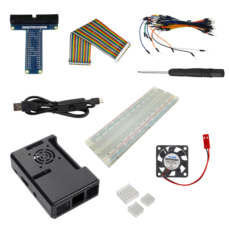 Raspberry Pi 3 Part Kit ABS Case + Power Cable + Cooling Fan +Heat Sink+ Gpio Board Cable For Raspberry Pi 3/2 Model B/B+ 40 pin data cable for raspberry pi b multi color 30cm