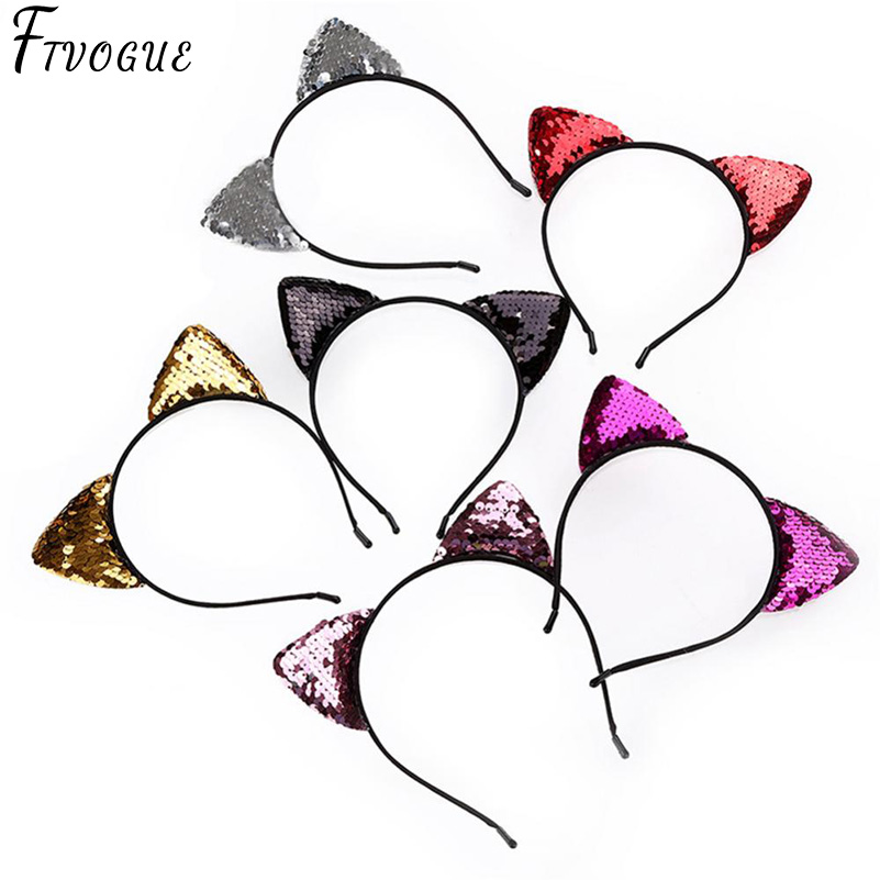 Glitter Can flip Sequins Cat Ear Girl Hairband Headband Hair Hoop for Girls Women Cat