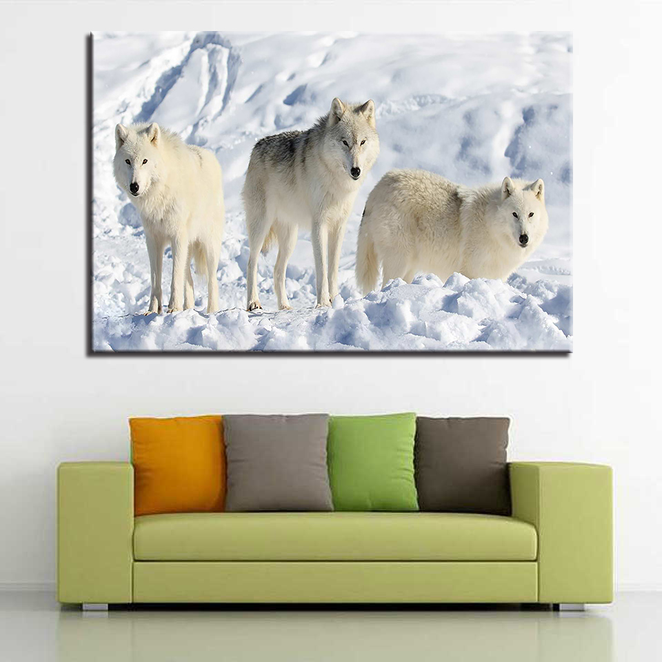 HD Prints Canvas Poster Framework Living Room Decor 1 Piece North American Arctic Wolf Paintings Wall Art White Wolves Pictures