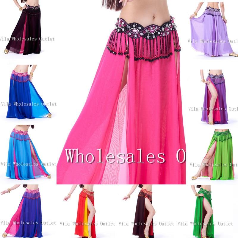 Belly Dance Skirt Dancing Costume Indian Dance Skirt Clothes Bellydance Skirt 1pc Skirt 13 Color VL-311