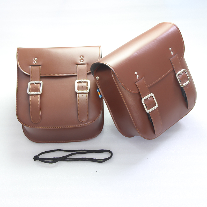1 Pair Motorcycle Brown PU Leather Saddle Bags Storage Luggage Bags Side Tool Bags Touch For Kawasaki Honda Suzuki Harley Yamaha