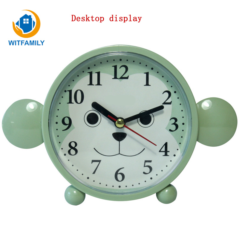 Honesty Fashion Style Cute Cartoon Monkey Style Clock Home Student Scan Desktop Mini Mute Plastic Pointer Alarm Clock Noenname_null Home & Garden