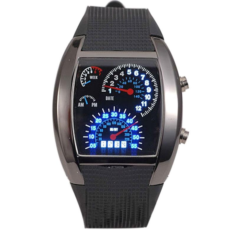 Unique Digital LED Backlight Military Luminous Men Wrist Watch Sports Pilot Speedometer Dot Matrix Boys Rubber Band Reloj Hombre