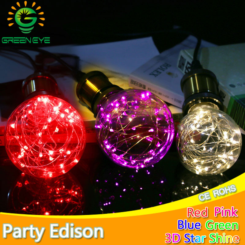 Nouveau Design Fée LED Filament Lumière E27 G95 Rétro Vintage LED Edison Ampoule 220 V 240 V Lampada Ampoule Bombilla verre Lumière