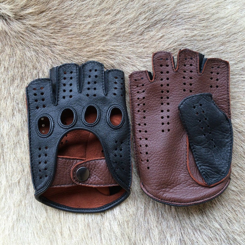 New Arrival Luxury Men Semi-Finger Genuine Leather Gloves Men's Driving Unlined Half Fingerless Goatskin Gloves For Male Mitten