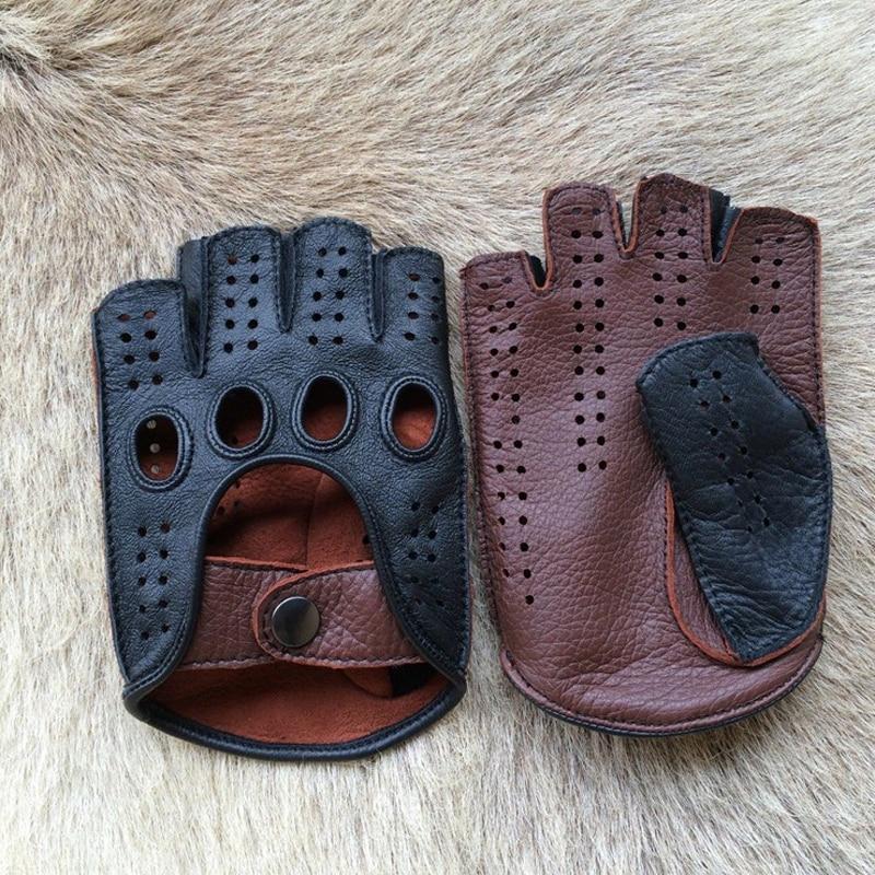New Arrival Luxury Men Semi-Finger Genuine Leather Gloves Men's Driving Unlined Half Fingerless Goatskin Gloves For Male Mitten