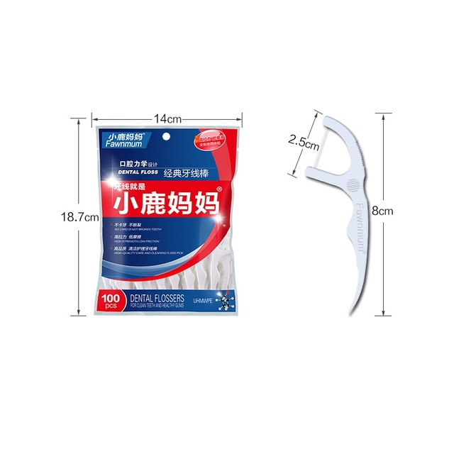 100Pcs Oral Hygiene Adult Interdental Brushes Dental Floss Flosser Sticks White Tooth Picks Food Residue Remover Teeth Cleaning