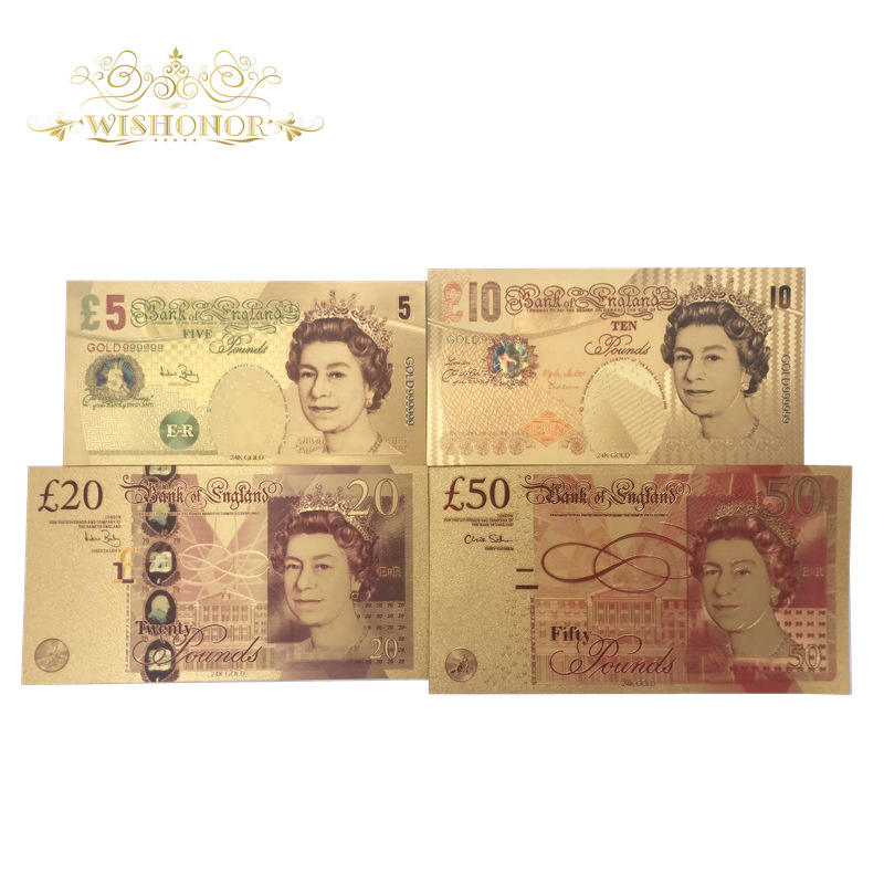 Hot Sale For 4pcs/Sets UK Color Gold Banknote 5 10 20 50 Pounds Banknotes in 24k Gold Plated Fake Paper Money For Collection