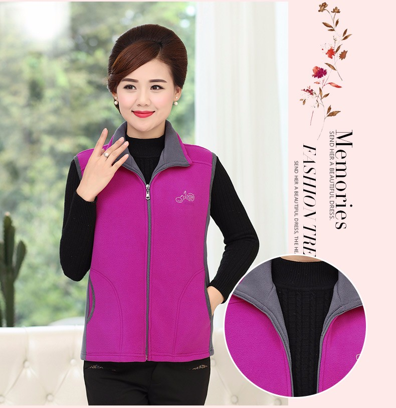Woman Basic Fleece Vest Purple Red Color Blocking Sleeveless Jackets Middel Aged Women Warm Soft Fleeve Waistvest Zipper Herringbone Gilet (14)