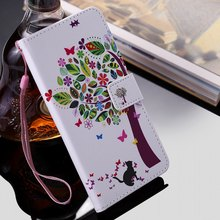 Colorful Tree Cat Book Case For Sony XA3 XZ1 Compact XZ2 Premium XZ3 XZ4 XZ XR XZS PU Leather Fundas Card Slot Stand Covers E06Z