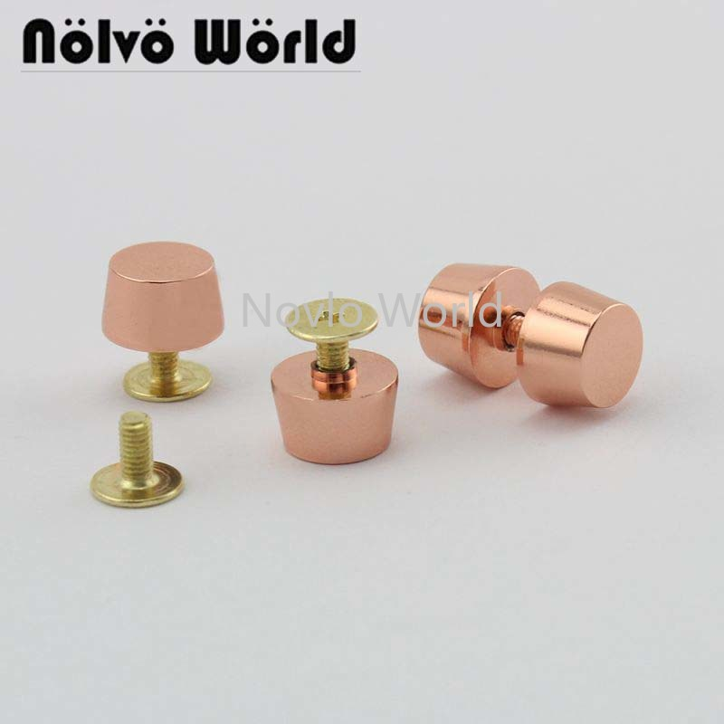 Wholesale 500pcs, Rose Gold Metal Rivets Handbag Accessories Thick Flank The Pacifier Nail Luggage Belt Screw Fittings Nail