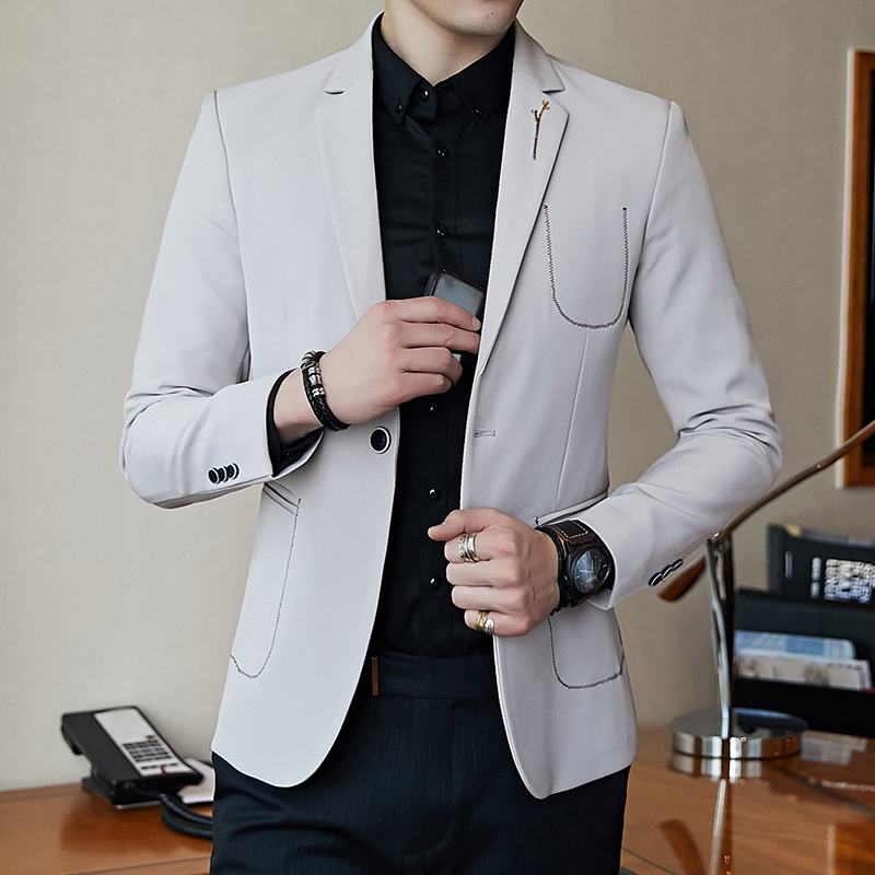 Mens suit spring and autumn new business casual small suit mens jacket European station  ...