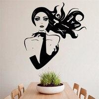 はさみくし美容ヘアーサロン女の子デザイン壁画ビニールアートビニール壁画デザインウォールステッカーホームインテリアdiyポスター