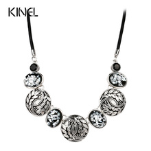 Fine Jewelry Shells Resin Boho Flower Necklace Women Plating Silver Leather Chain Accessories Wholesale