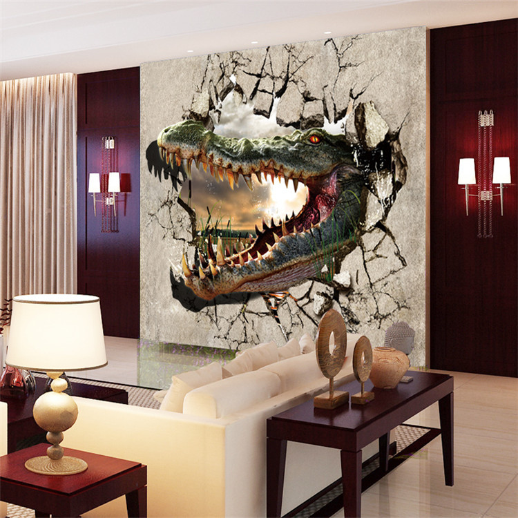 3D Photo Wallpaper Violence Crocodile Large Wall Mural Non Woven Canvas  Unique ROOM DECOR Wall Painting Nursery Living Room In Wallpapers From Home  ... Part 85