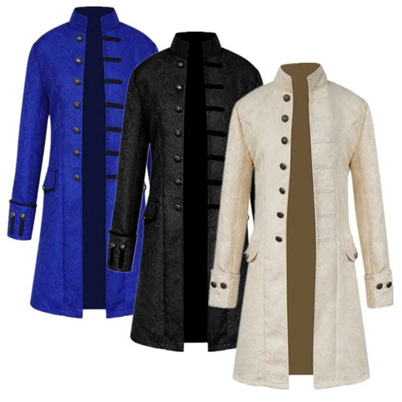 Frock Coat Jacket Costume Vintage-Stand-Collar Medieval Long-Sleeve Brocade Gothic Steampunk