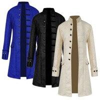 Steampunk Jacket Medieval Costume Trench Coat Men Long Sleeve Gothic Brocade Jacket Frock Coat Vintage Stand Collar Men's Coat