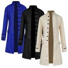 Steampunk Jacket Medieval Costume Trench Coat Men Long Sleeve Gothic Brocade Jacket Frock Coat Vintage Stand Collar Mens Coat