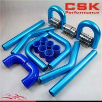 2 51mm Universal 8PCS Turbo Intercooler Pipe Piping+ Silicone Hose T Clamp Kit BLUE