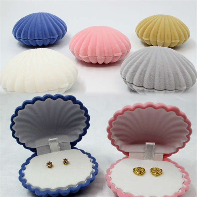 Jewelry Box Elegant Sea Shell Shape Flocking Ring Boxes Pendant Locket Earrings Container Boxes Jewelry Organizer HG-1386