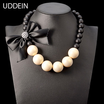 Chunky wood chain big simulated pearl jewelry ribbon flower necklace