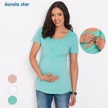 Грудное вскармливание кормящих футболка одежда Блузки для беременных женщин футболки для беременных женские Короткие повседневные футболки для беременных
