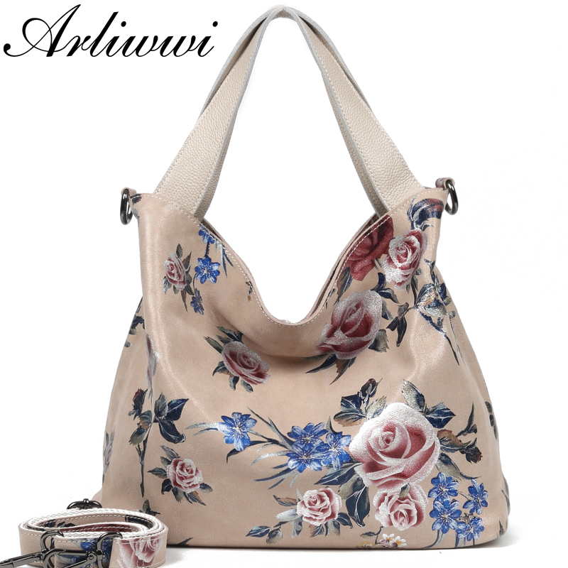 Arliwwi Designer 100 Real Leather Large FLower Hobos Fashion Bags For Women New Shiny Genuine Leather