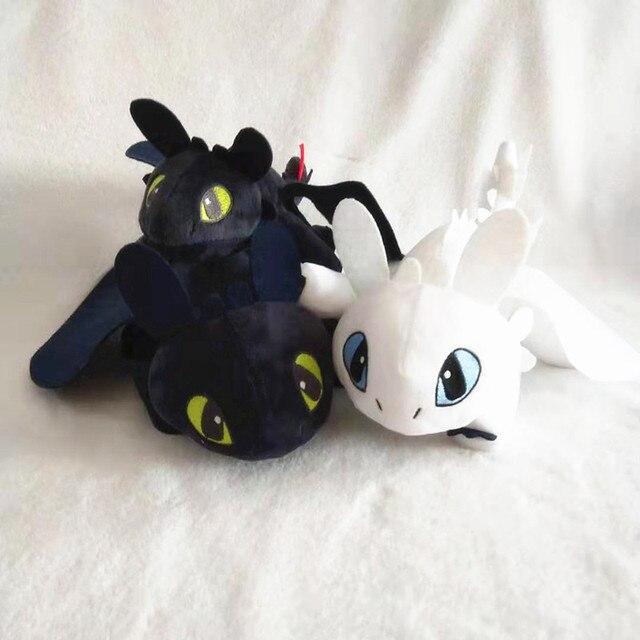 Como treinar dragão mestre preto e branco dragão irritado plush toy dragão desdentado boneca fantoche de mão decoração das crianças presentes