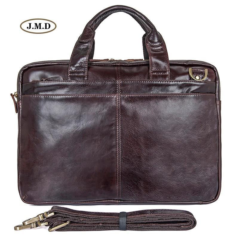 цена на J.M.D New Arrivals Genuine Cow Leather Brown Fashion Style Men's Briefcase Laptop Bag Shoulder Bag Men's Fashion Handbag 7092-3C
