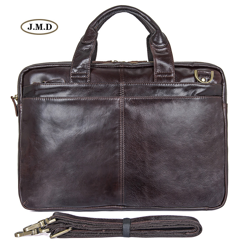 New Arrivals Genuine Cow Leather Brown Fashion Style Men's Briefcase Laptop Bag Shoulder Bag Men's Fashion Handbag 7092-3C
