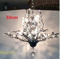 50cm Modern Candles K9 Crystal Chandelier Tree leaf Crystal Lampshade Lustres De Teto E14 Lampadario Bedroom Chandeliers lamp