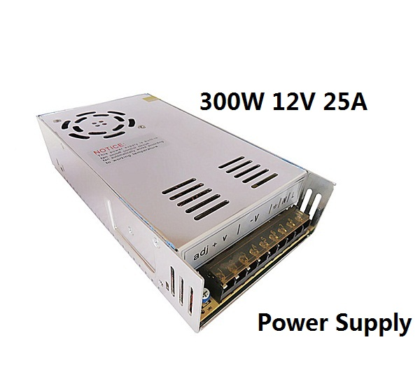 AC 110V 220V To DC 12V 300W 25A Power Supply Charger Transformer Adapter Driver for 5050 3528 5630 LED RGB Strip light dc power supply 24v 25a 600w led driver transformer 110v 220v ac to dc24v power adapter for strip lamp cnc cctv