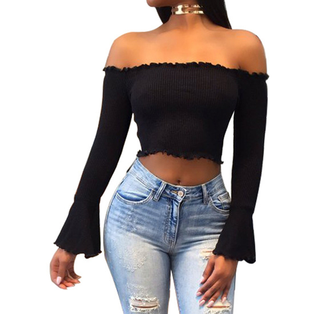 b41acc4d09c Autumn Women Off Shoulder Crop Top Solid Slim Sweater Sexy Flare Sleeve  Pullover Female Short Knitted Sweater Pull Femme WS2908T