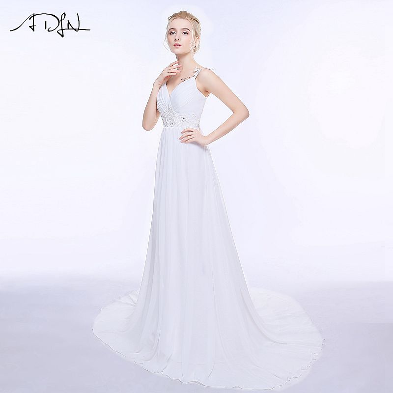 ADLN Real Wedding Dresses In Stock Plus Size Spaghetti Straps Chiffon Bridal Gowns Vestidos De Noiva with Lace Up Back 6