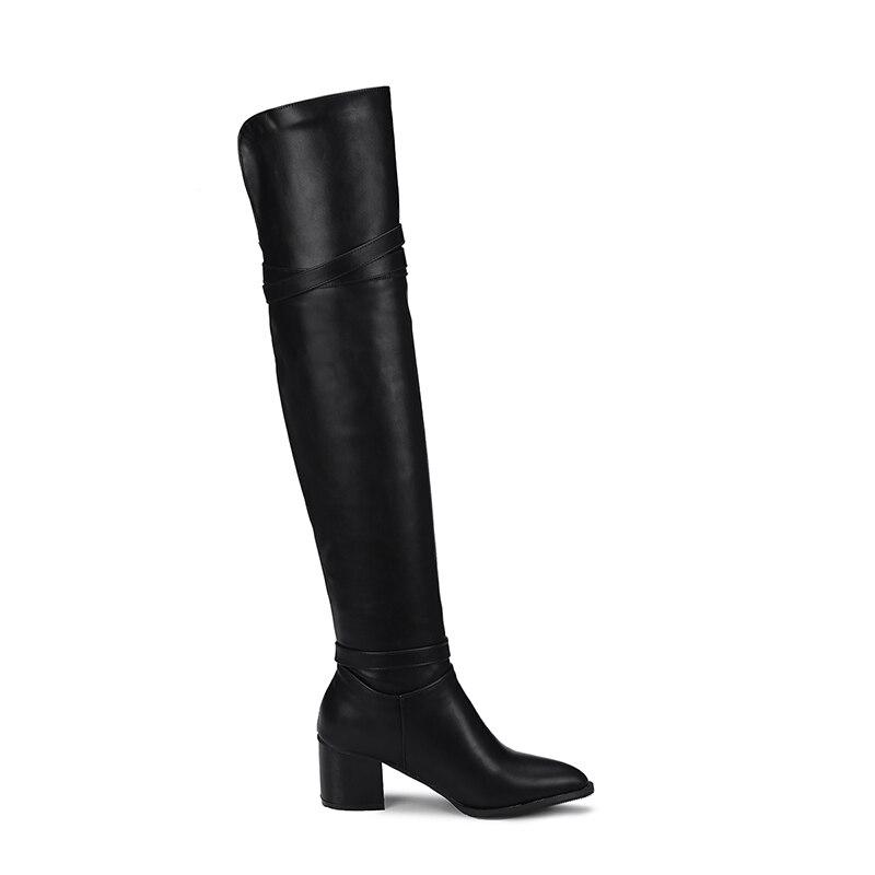 High 6 Plus Neue Hohe Größe Pu 2019 Schuhe Cm 32 Black Heel Knie Das Frauen Boot Über white Winter Stiefel Schnalle 44 Mode Platz 43 O0AUtxvqw