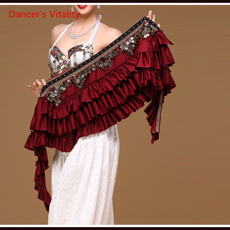 New Ethnic Belly Dance Clothes Gypsy Costume Accessories Cape With Fringe Coins Straps Hips Scarf Belt For Belly Dance