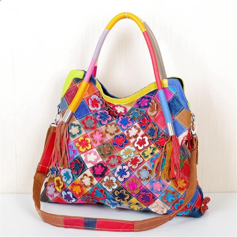 Caerlif Irregular Style Handbags Women Messenger Bag Patchwork Colorful Large Purse tassel bag Genuine Leather Bags