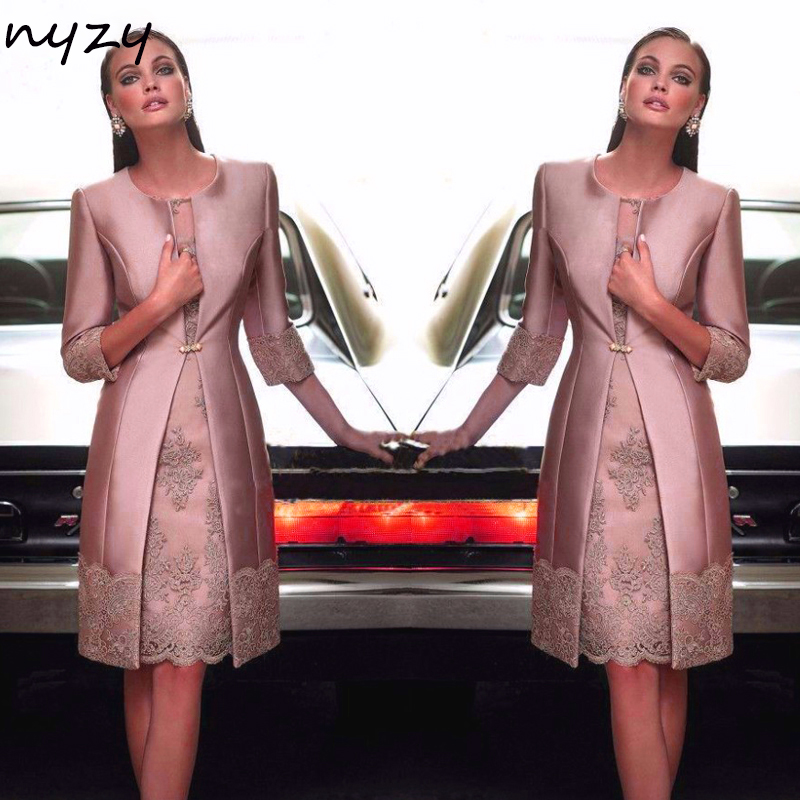 NYZY M20 Elegant Party Dress Sheer Neck Short Mother of the Bride/Groom Dresses Outfits Suit with Jacket Coat Formal Dresses