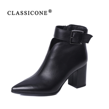 CLASSICONE 2019 Woman shoes women's ankle boots spring autumn genuine leather black pumps brand fashion luxury style decoration