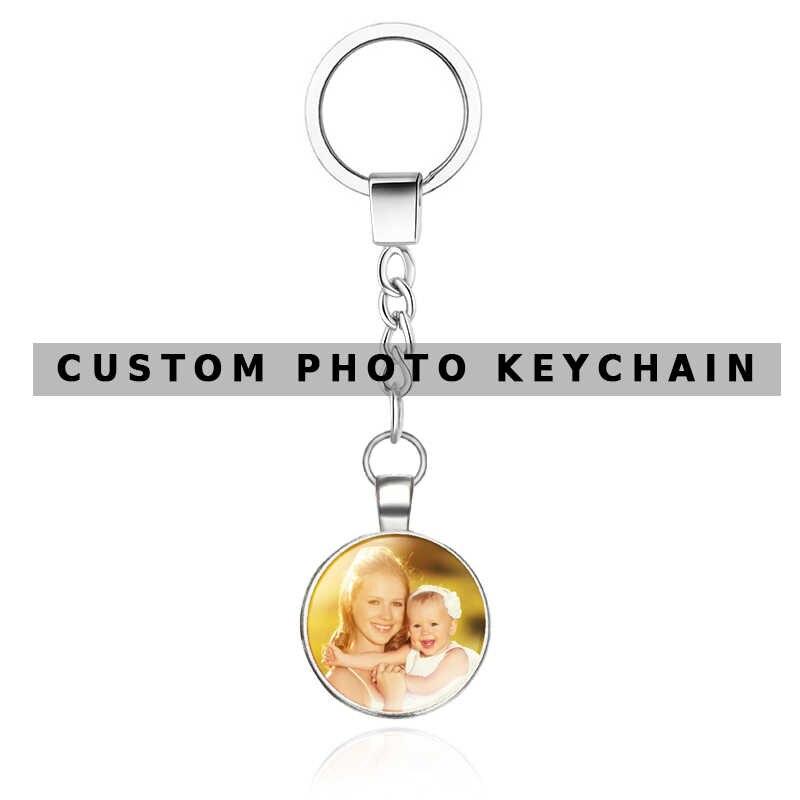 OMGALA لتقوم بها بنفسك مزدوجة الجانب شخصية مخصصة سلاسل المفاتيح الطفل الأسرة عشاق الصورة التقويم Keyrings مفتاح سلسلة حلقية حامل للهدايا