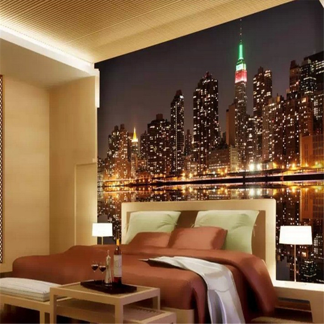 beibehang 3d wallpaper Bright city lights dim night TV KTV bar large living room sofa mural wallpaper for walls contact paper