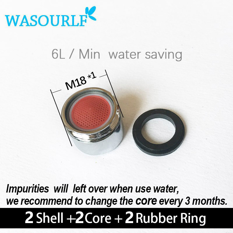 WASOURLF 2PCS Water Saving Faucet Aerator 6 L M18*1 18mm Male Thread Tap Device Bubble Accessories Bathroon Basin Kitchen Water