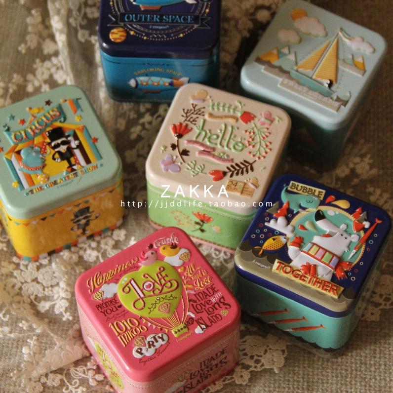 Indah Kartun 3D Tin Box Biscuit / Tea leaf Sundries Container Case Metal Customizable Wholesale Child Gift Box Square