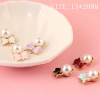 Trendy Ribbon Knot Bow Decorated Round White Pearls Jewelry Charms Gold Tone Plated DIY Findings Bracelet