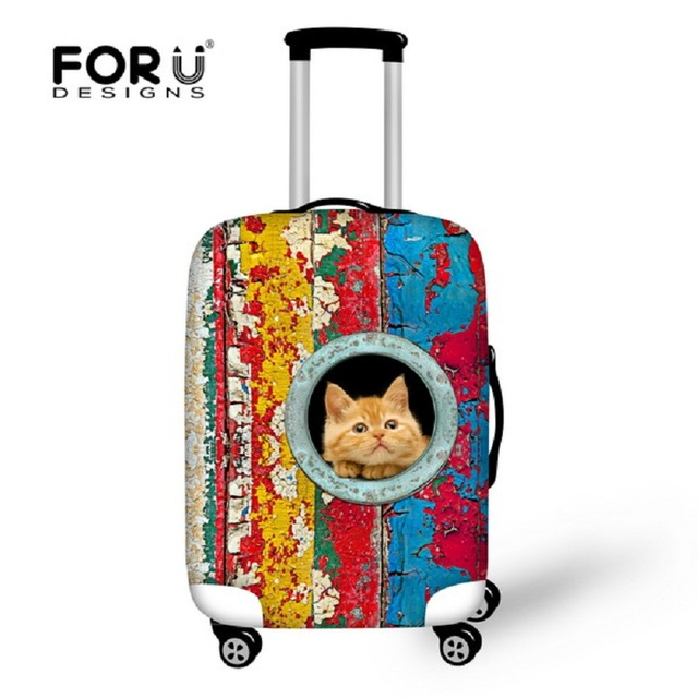 3D bonito Cat Animais Bagagem Capa Protetora À Prova D' Água 18-30 polegada Criativo Tampa Elástica Bagagem de Viagem Mala Capa de Chuva