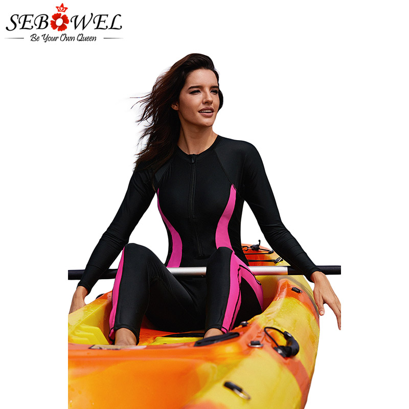 SEBOWEL Women's Full Body Zip Front Wetsuit Swimwear Rosy Long Sleeve Diving Suit Surfing One Piece Swimsuit Beach Bathing Suit