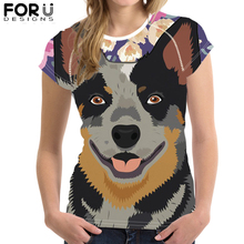 FORUDESIGNS Australian Cattle Dog Print Cool Short Sleeve Tee Tops Customize Image 3D Printing T-Shirt for Women Tshirt футболка