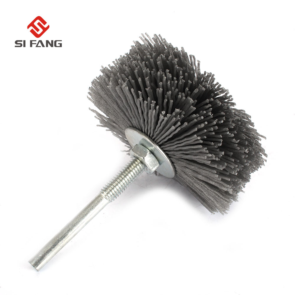 6mm Shaft 80mm Abrasive Wire Grinding Wheel Nylon Bristle Brush For Wood Furniture Mahogany Polishing